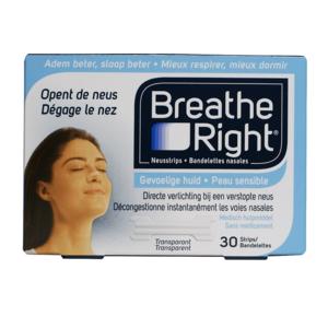 Breathe right neusstrips gevoelige huid 30 stuks transparant